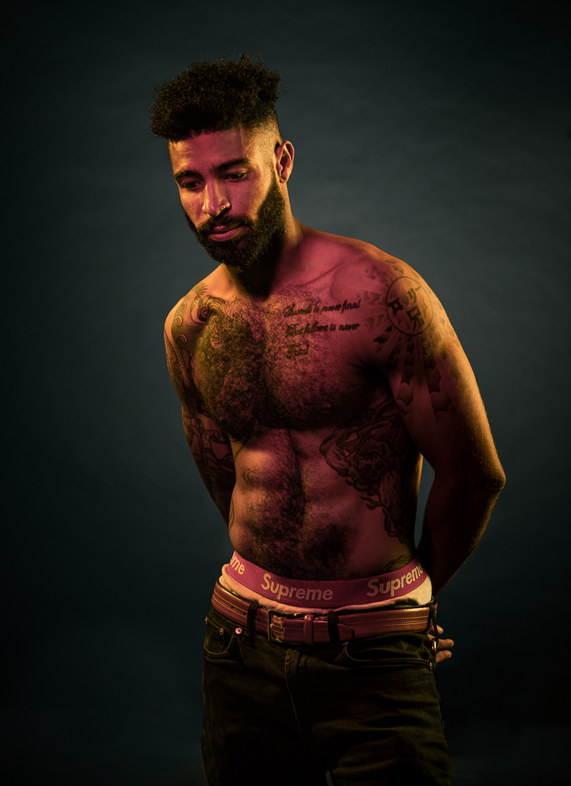 Black-Lives-Matter-Portrait - shirtless man, in studio.