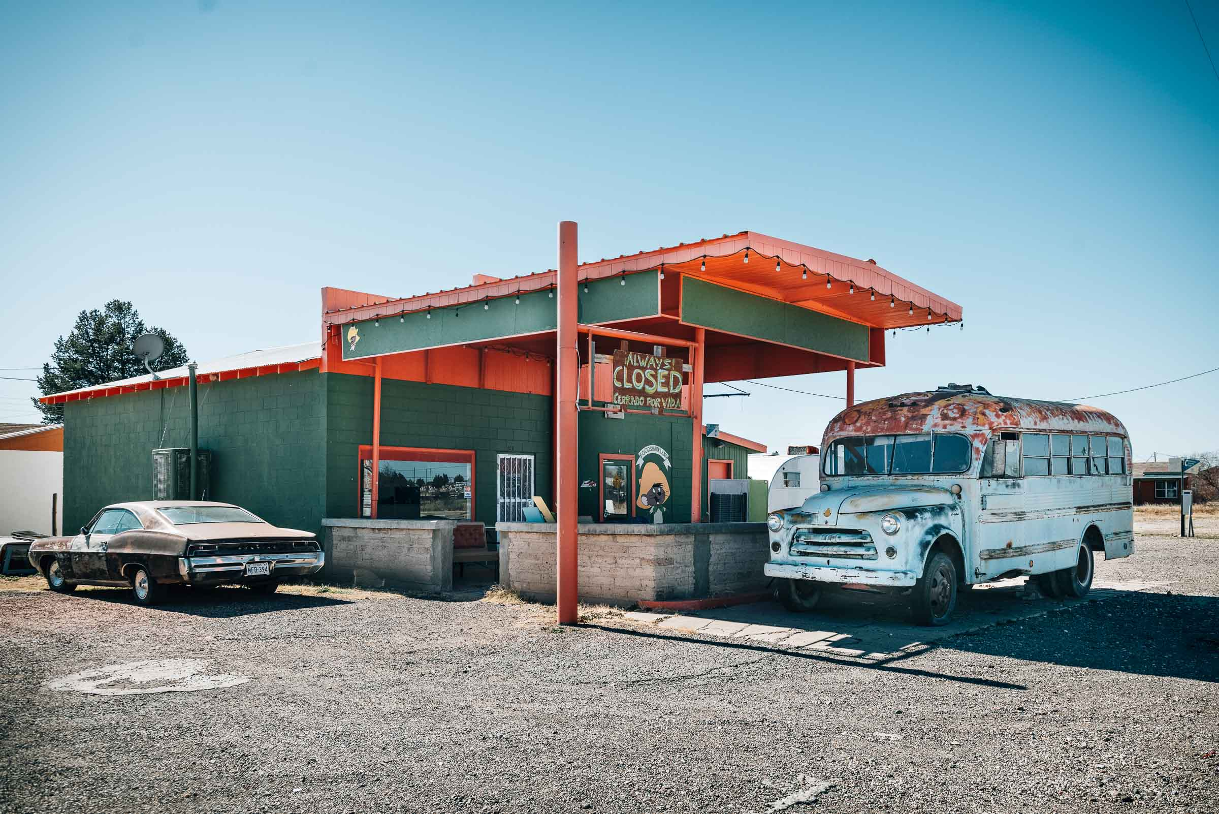 Food truck with Always Closed sign - Marfa-TX
