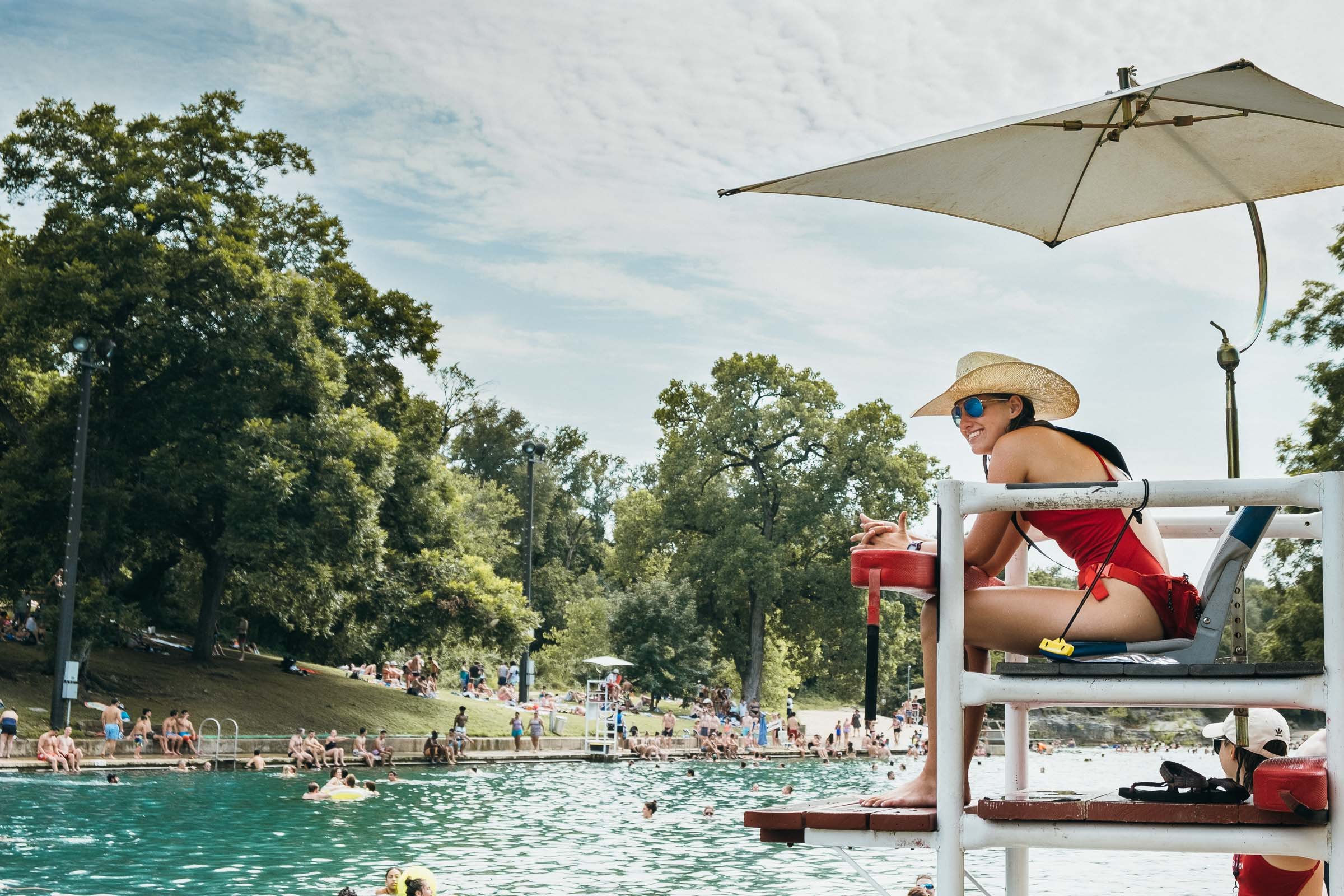 Summer fun - a lifeguard at Barton Springs pool, Austin TX