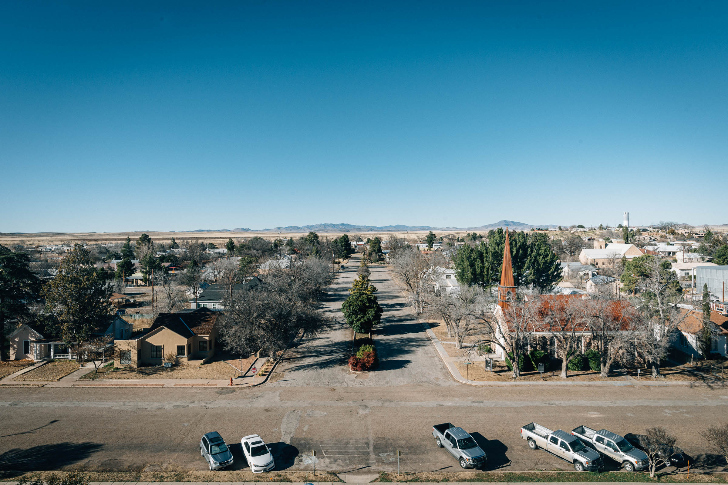 Street view from the Courthouse Tower in Marfa TX