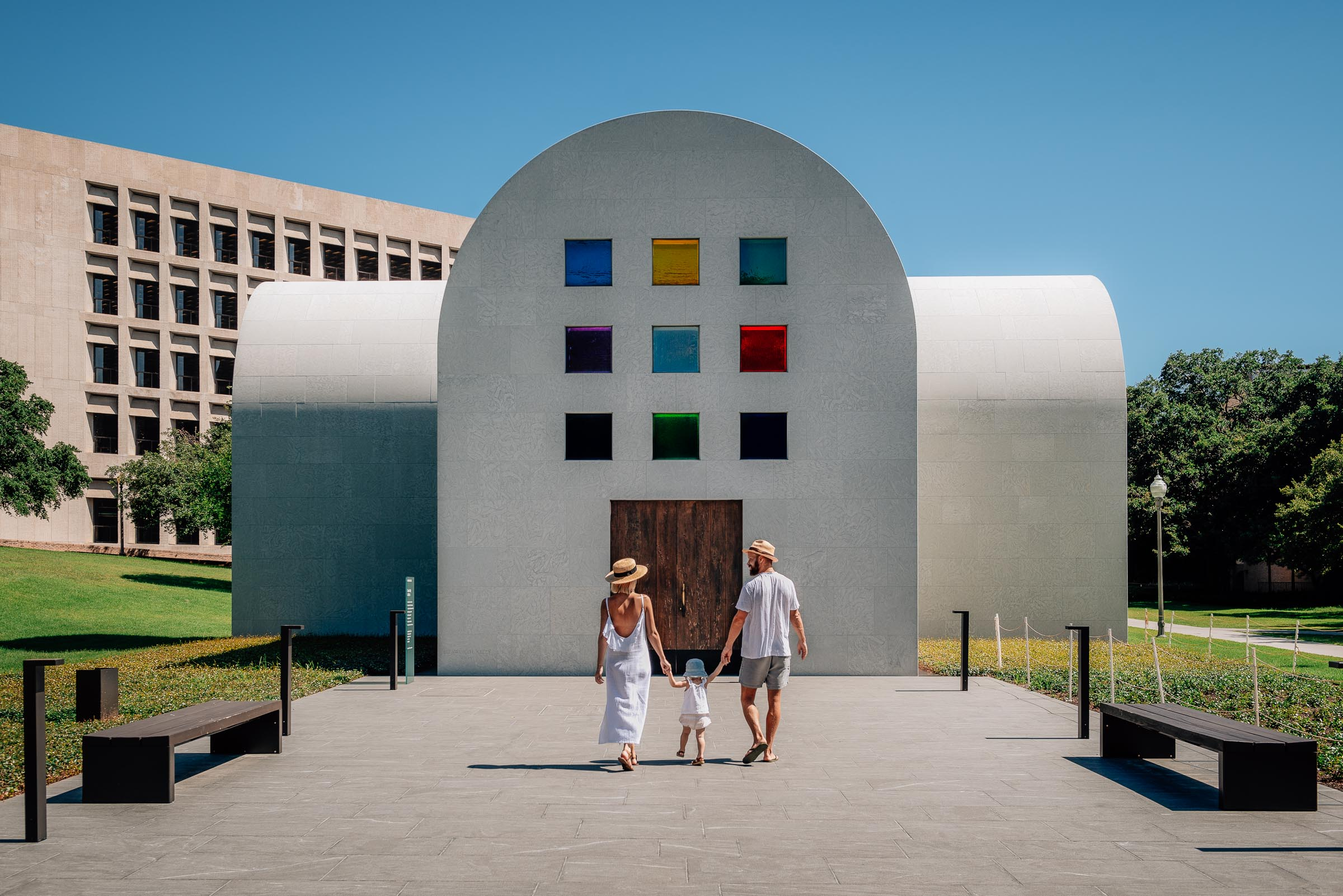 Traveling family at Ellsworth Kelly Blanton Museum Austin TX