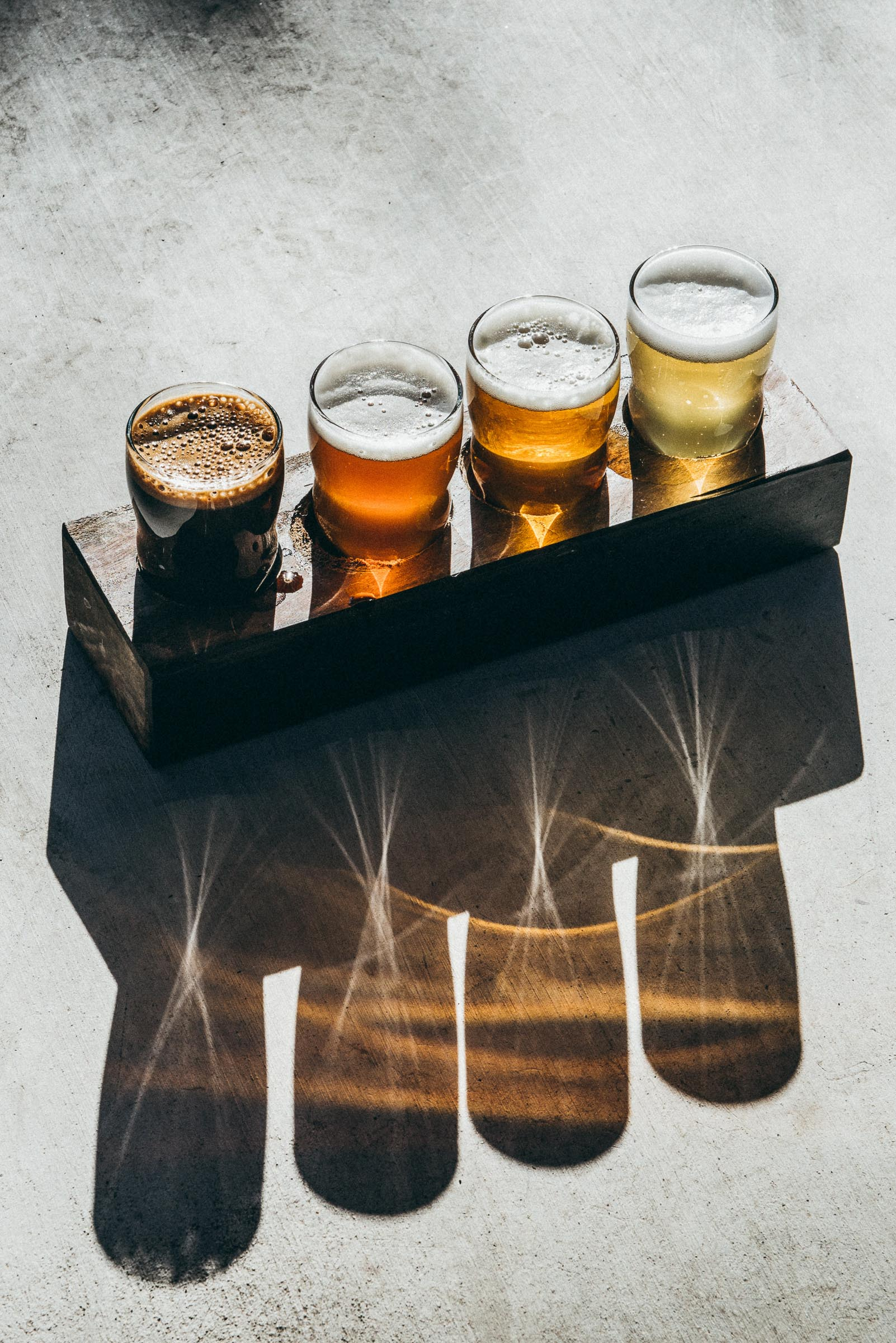 A beer tasting flight at Family Beer Business in Driftwood-TX-2
