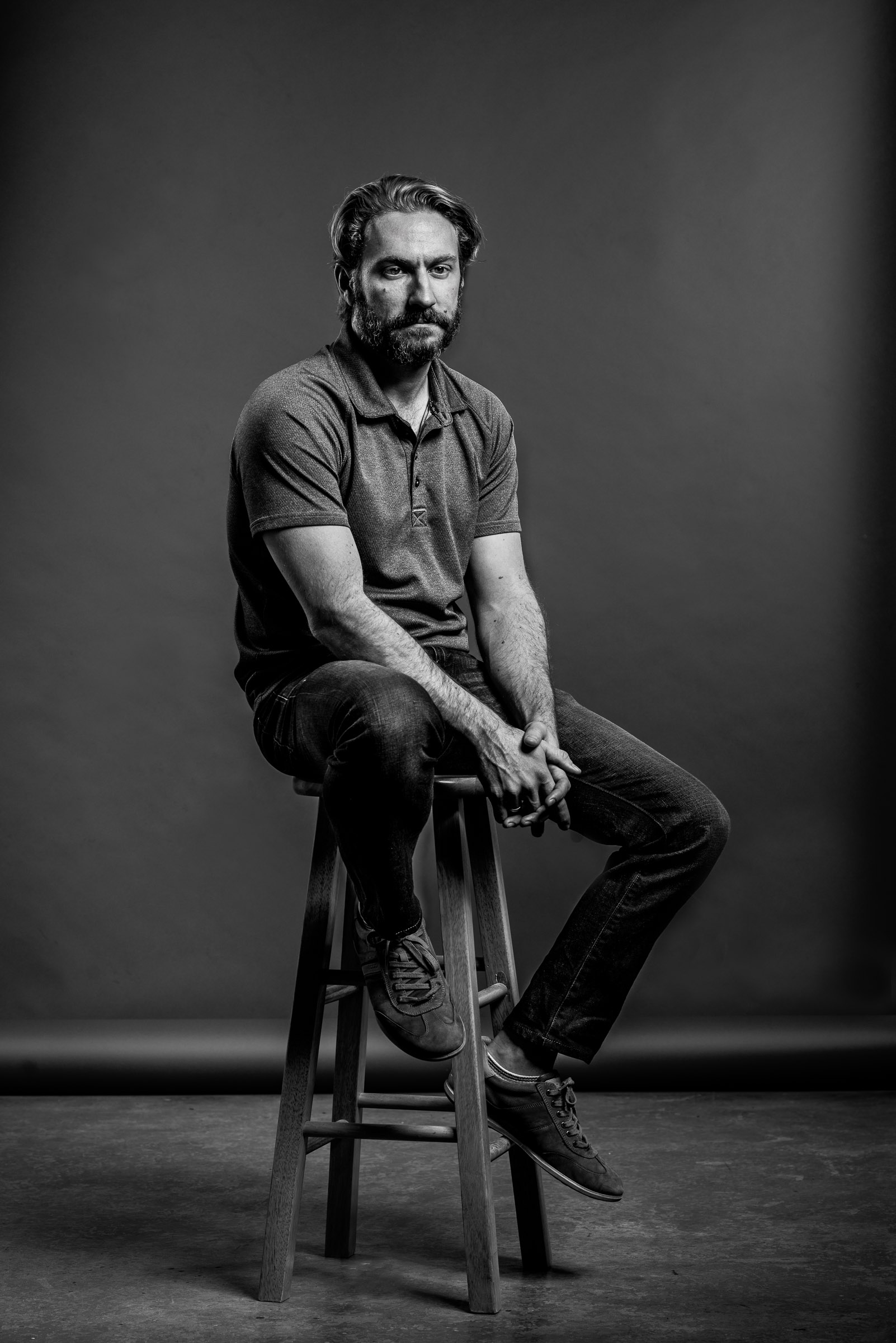 Editorial black-and-white tech entrepreneur portrait - Jason-Seats-Techstars-Austin-TX