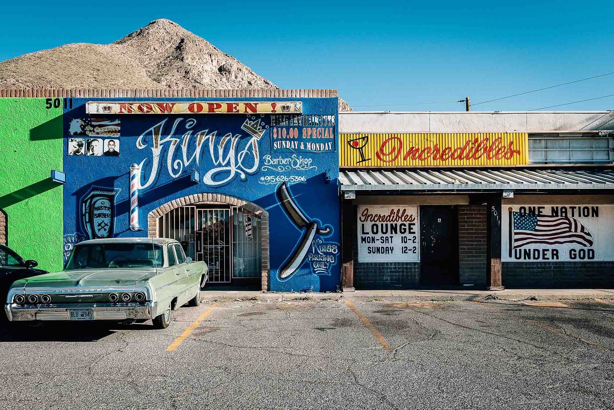 Kings and Incredibles - Two El-Paso-TX bars with vintage car.