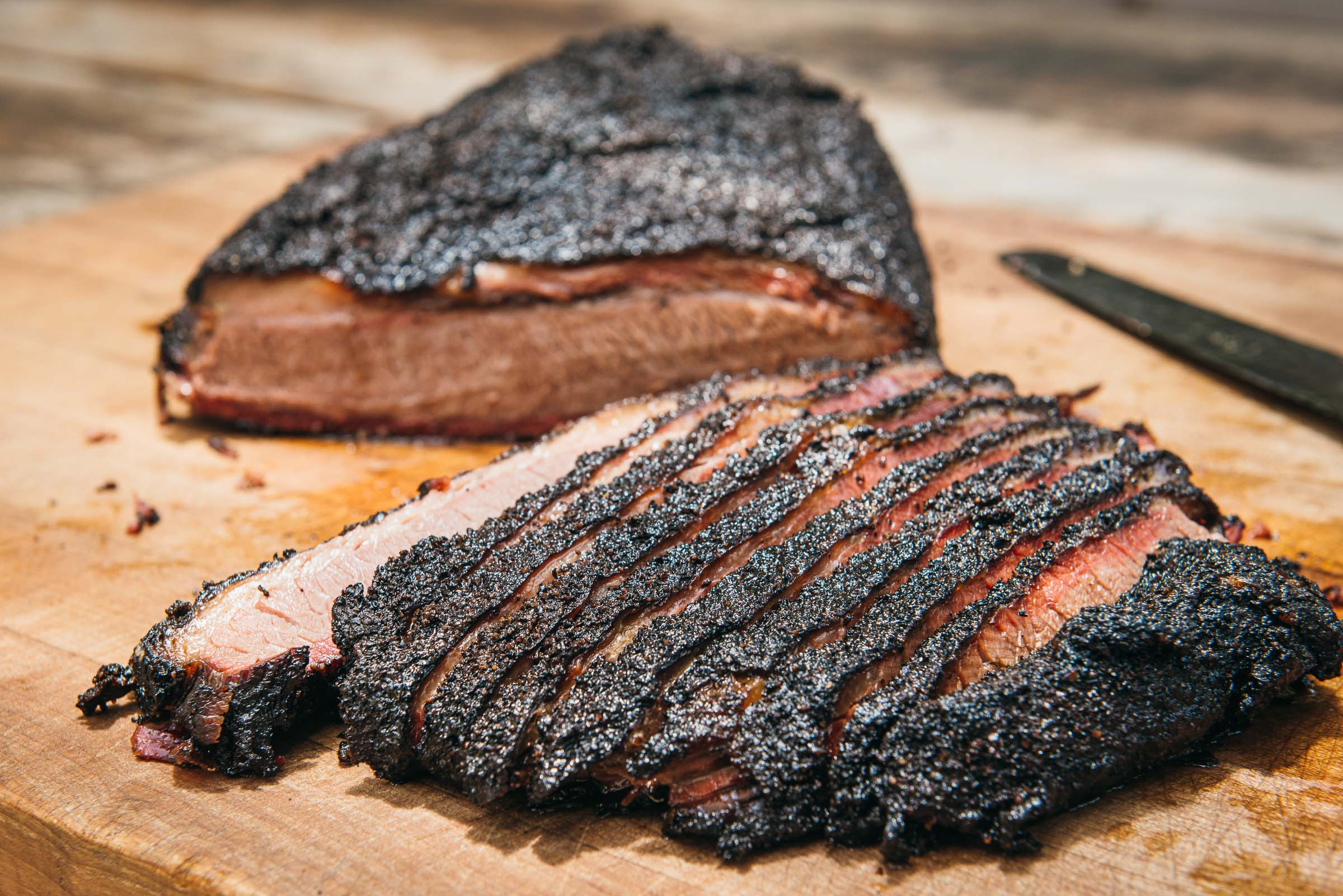 Sliced Brisket at rest, seasoned and marbled  - LaBarbecue-Brisket-Austin-TX