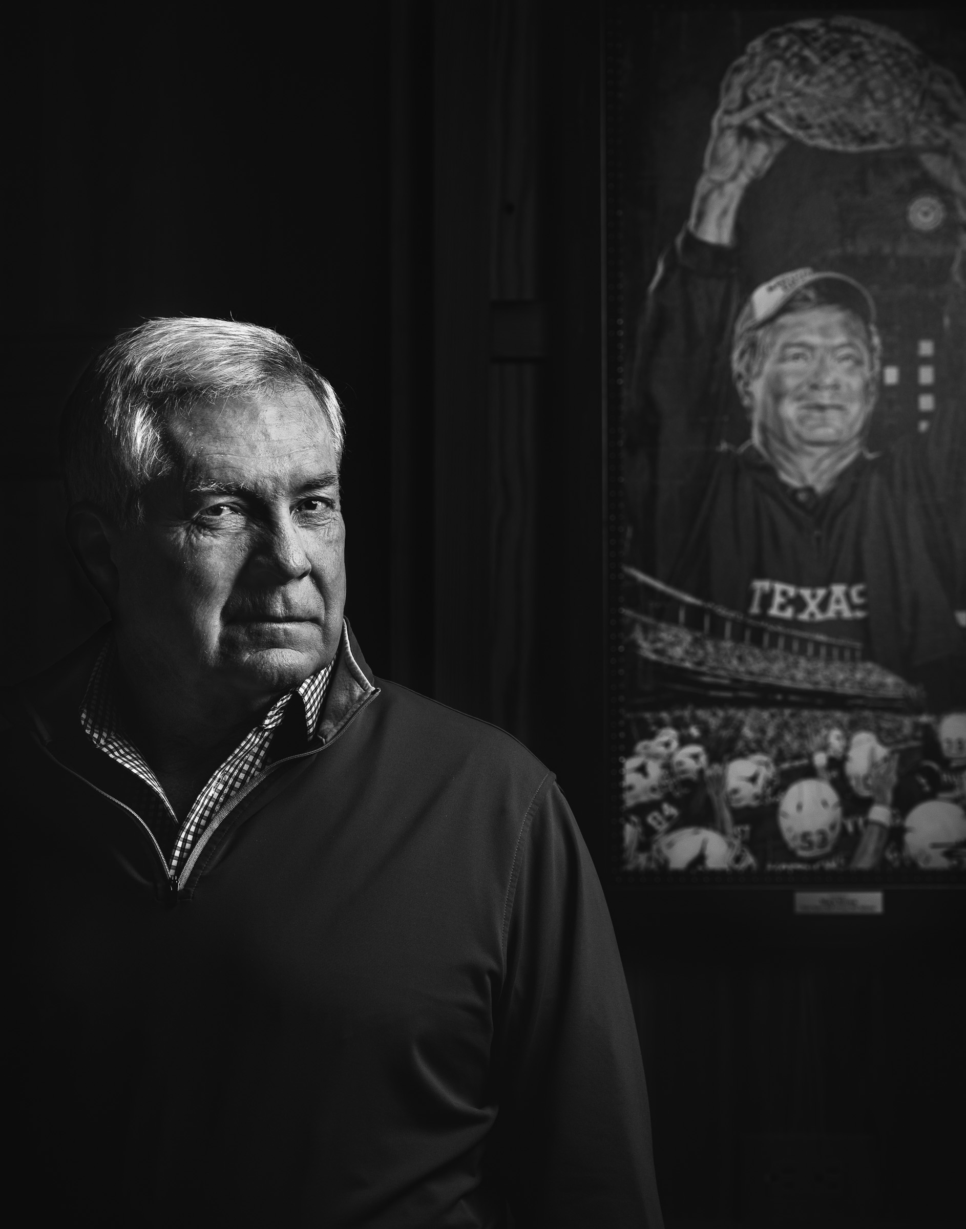 Moody black-white editorial portrait of Mack-Brown-College-Football-Coach