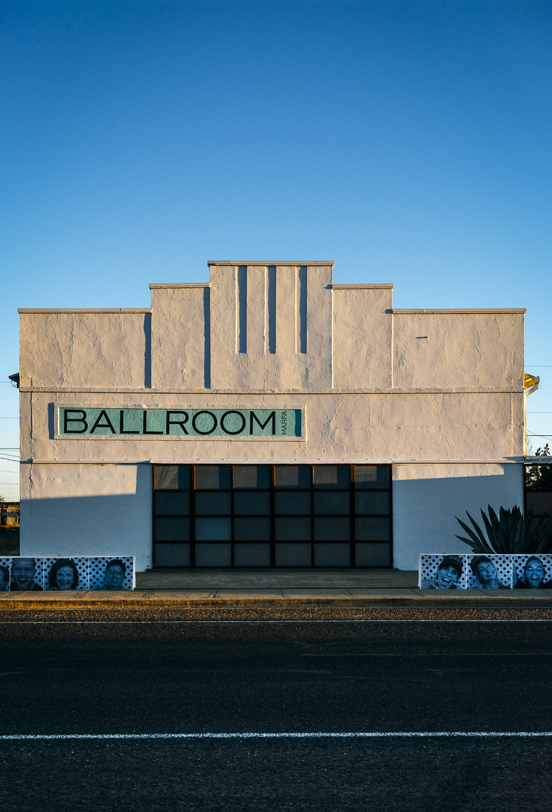 Marfa Ballroom - Art Gallery, photographed at sunset - Maria TX