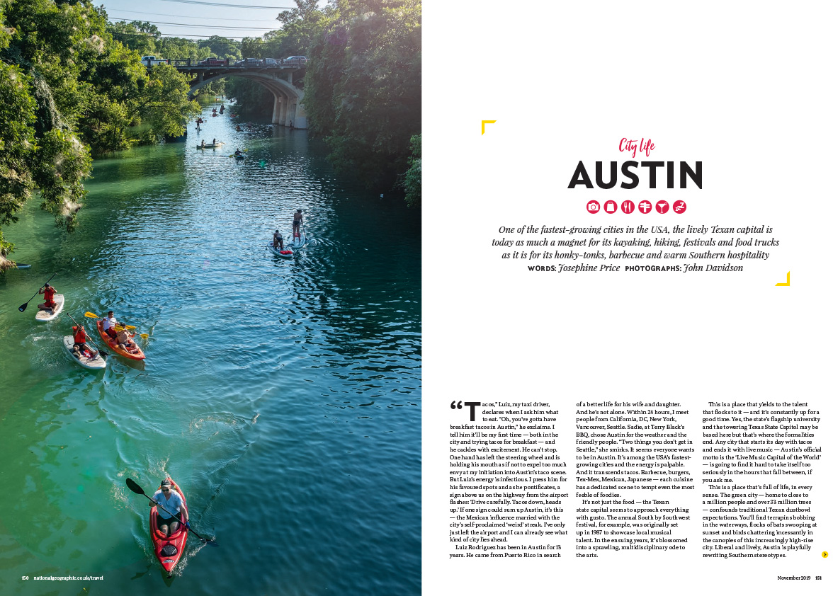 Austin City Life Editorial Photography - National Geographic Traveller UK Tear Sheet -1