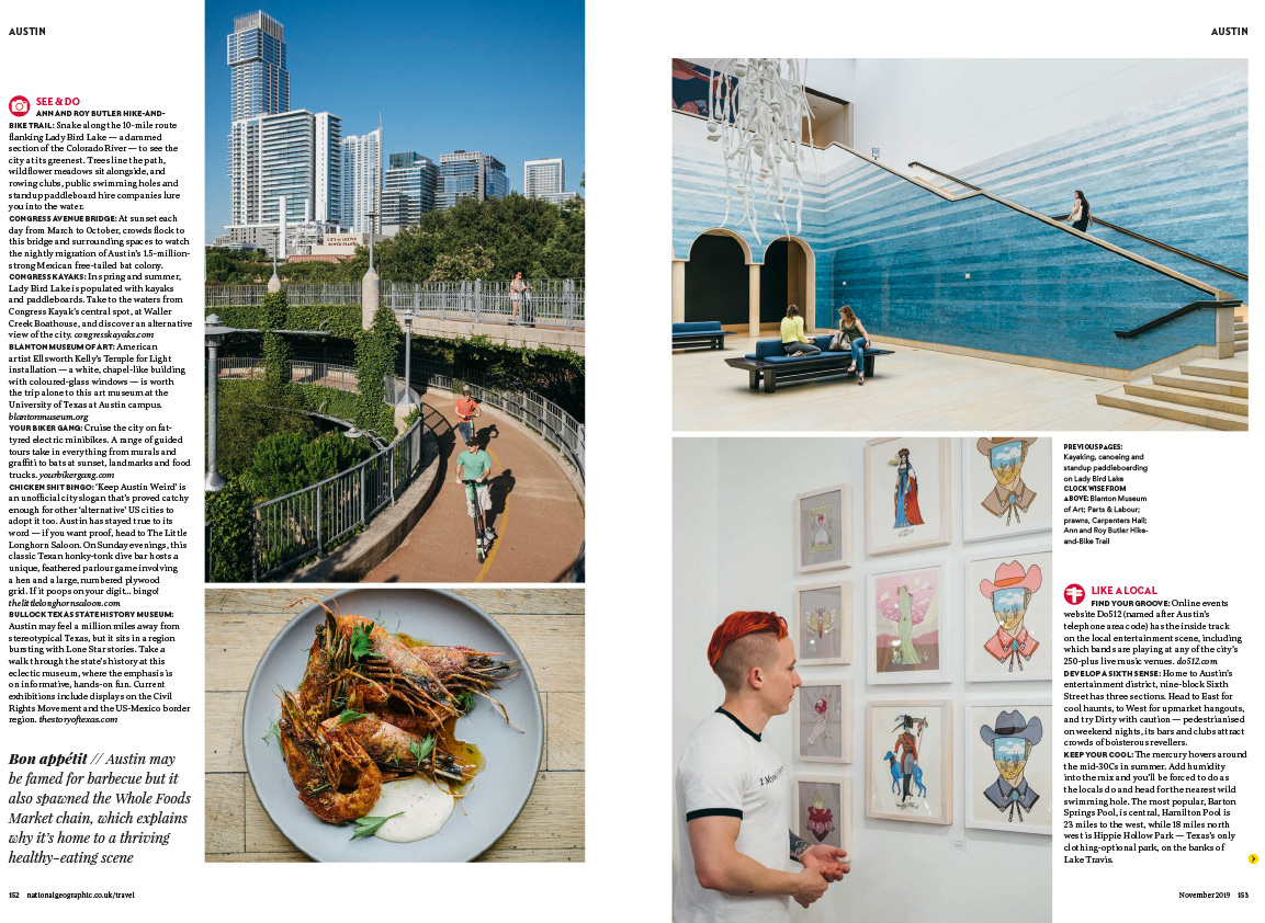 Austin City Life Editorial Photography - National Geographic Traveller UK Tear Sheet -2