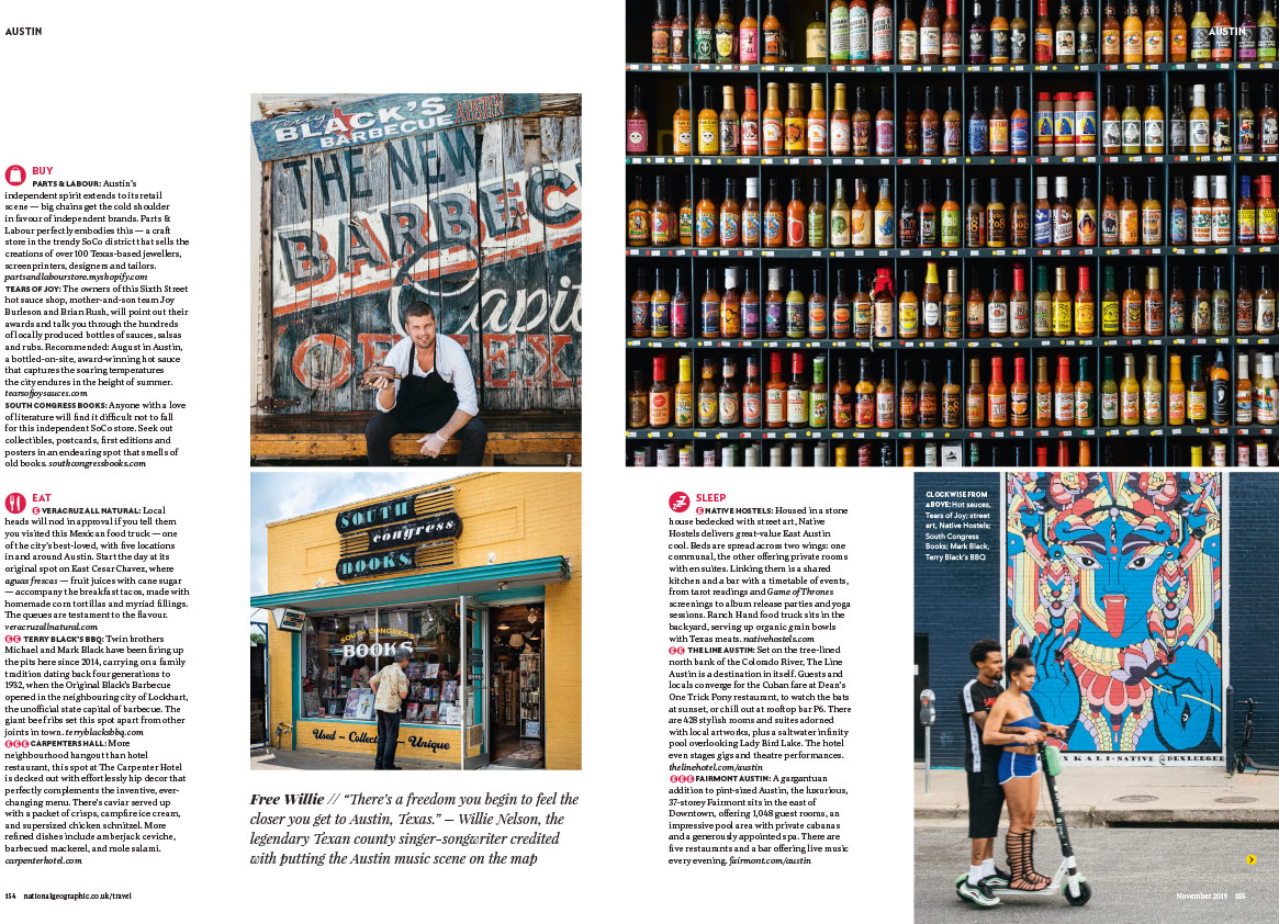 Austin City Life Editorial Photography - National Geographic Traveller UK Tear Sheet -3