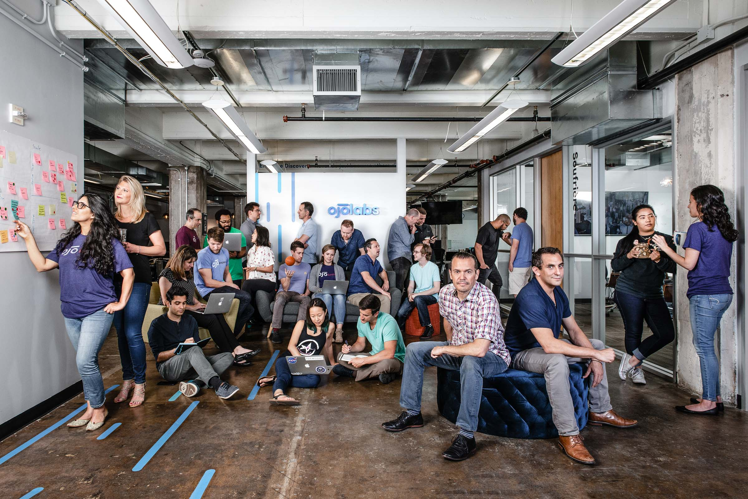 Corporate Team Portrait- the entire company staff  at OJO Labs in Austin-TX