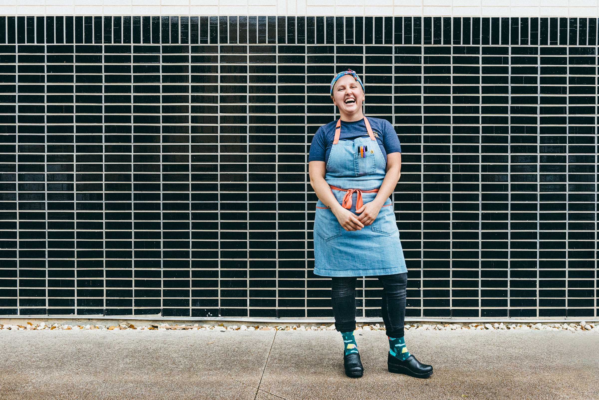 Pastry-Chef-Lindsay-Flagg-laughing -outside-Manana-Austin-TX