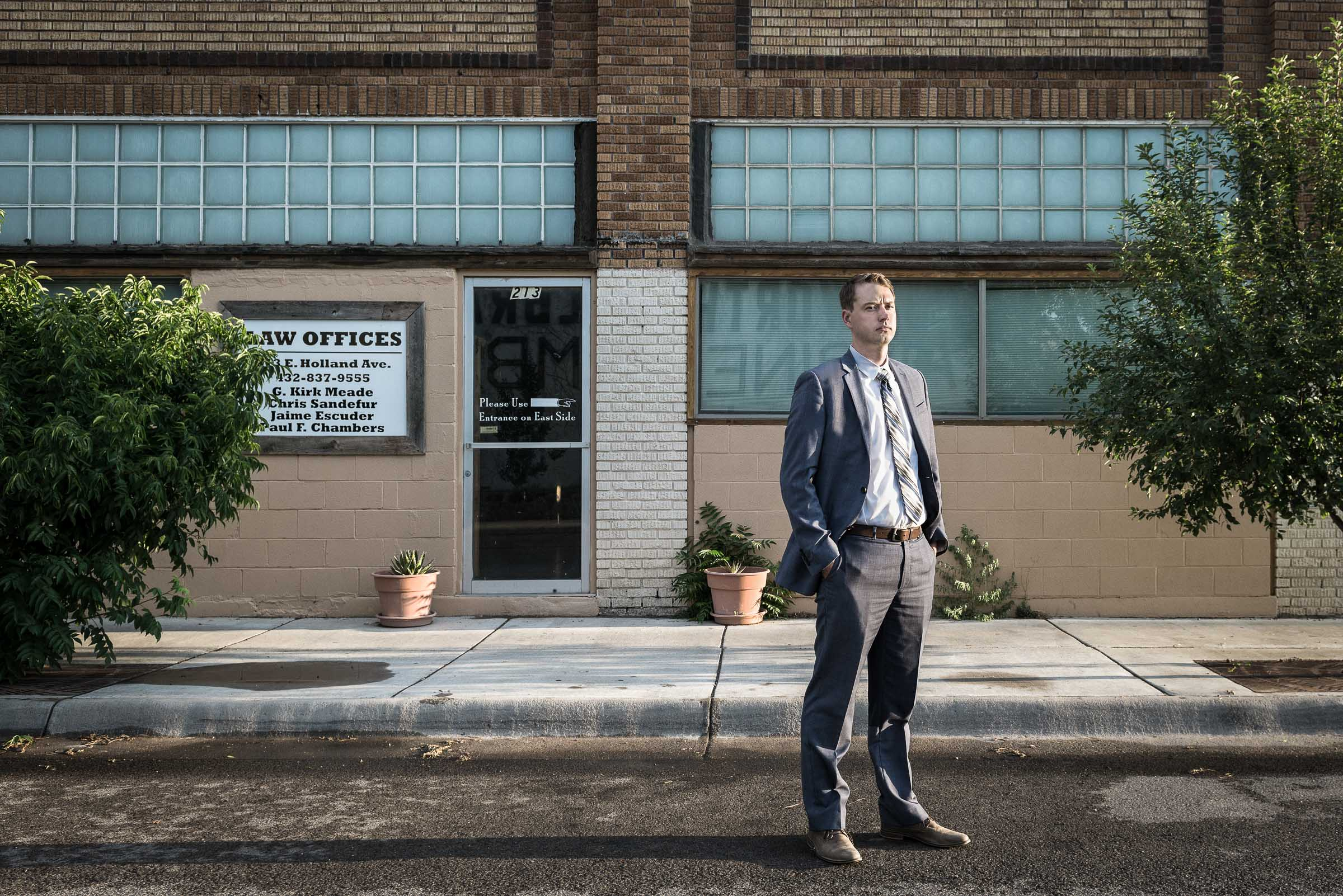 Documentary portrait -Paul-Chambers-Attorney-outside his office Alpine-Texas