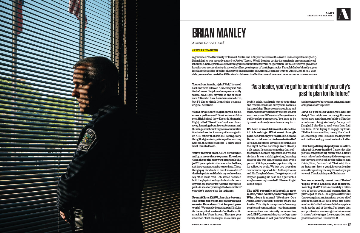 Tear Sheet: Austin Police-Chief Brian Manley - portrait for Austin Monthly.