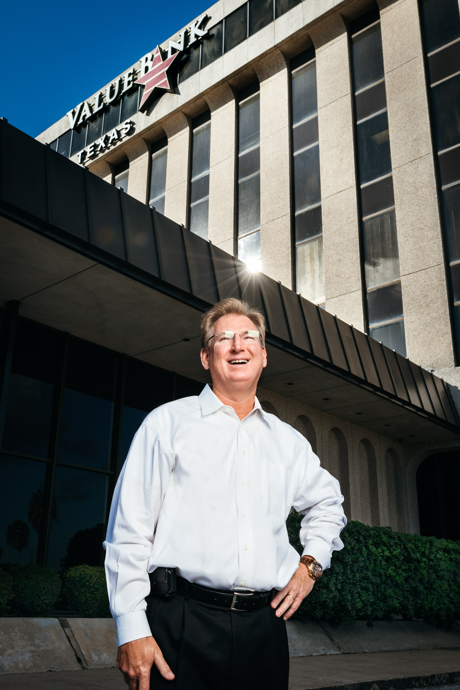 Business Leader Portrait -Scott-Heitkamp- photographed outside his bank.