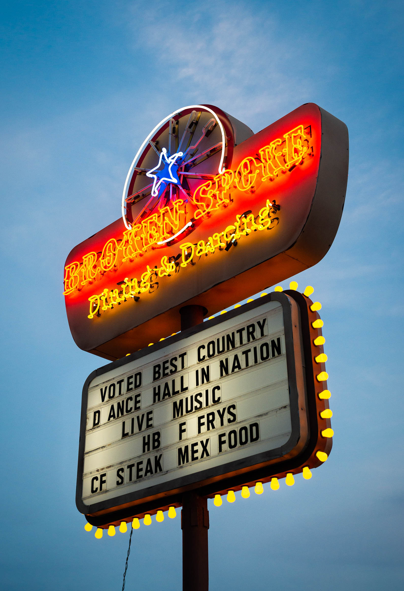 Vintage neon sign - The Broken Spoke - Austin Texas