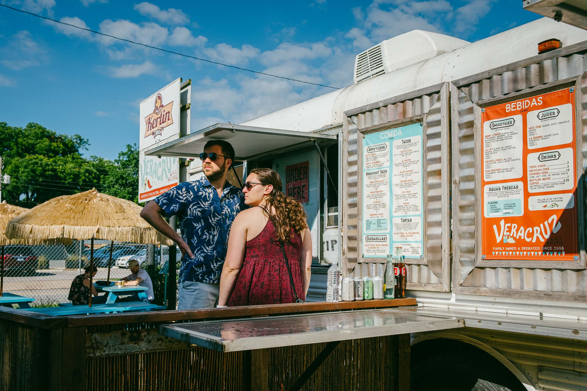 Editorial photography - A  couple at  Vera Cruz food trailer in Austin-TX