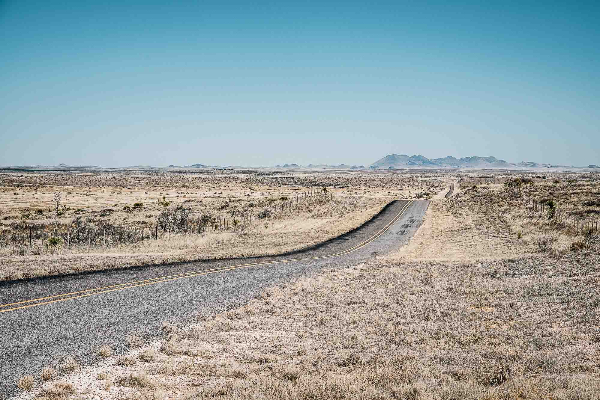 Endless empty highway -West-Texas-Landscape.