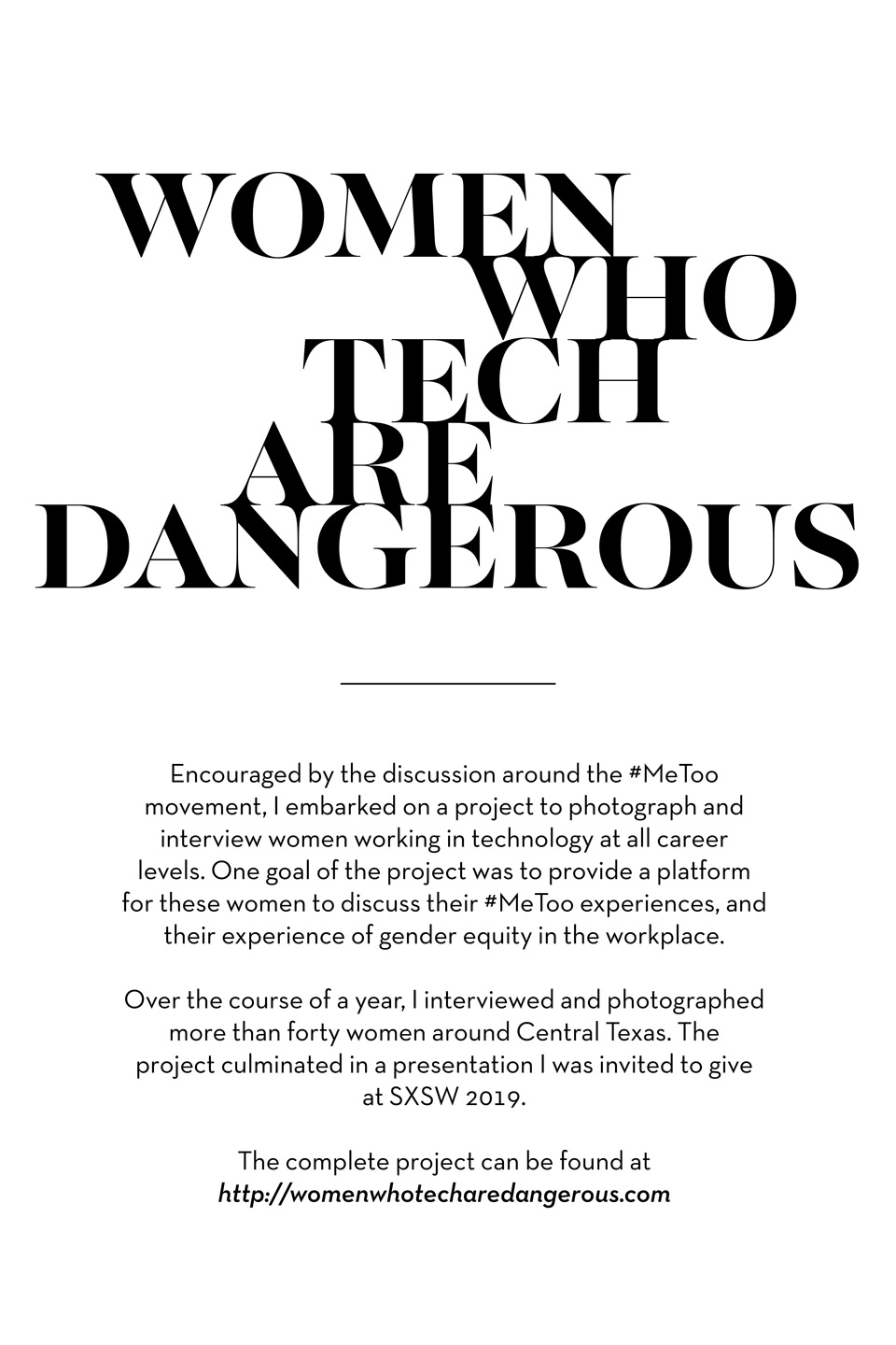 About: Text description of Women Who Tech Are Dangerous Project, by John Davidson